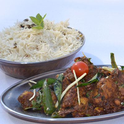 Natukodi Curry with Pulav Rice