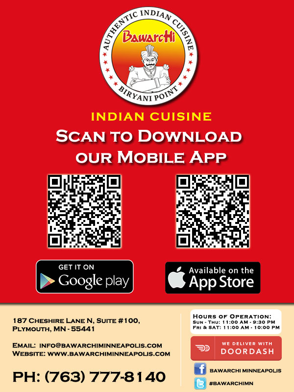 Download Mobile Apps of Bawarchi Indian Cuisine - Minneapolis