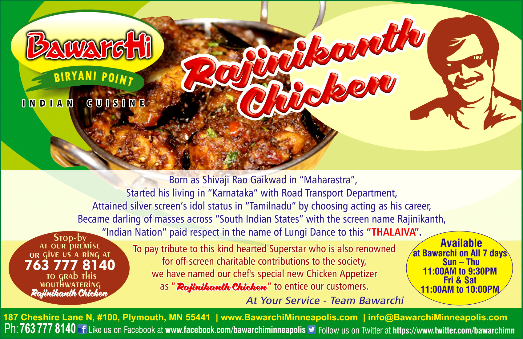 Rajinikanth Chicken By Bawarchi Indian Cuisine Minnesota
