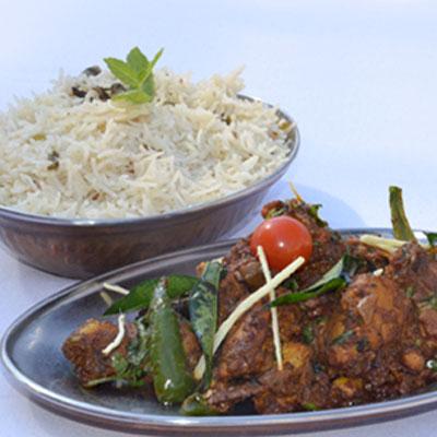 Natukodi Curry with Pulav Rice